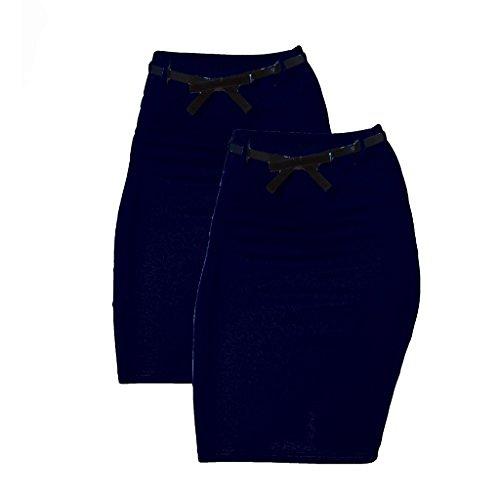 2 Pack Women's High Waist Pencil Skirt
