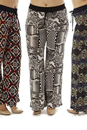 Women's 3 Pack Mix Media Prints Drawstring Waist Palazzo Pants