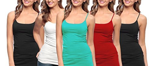 3b4626553fa 5 Pack Junior Plus Size Seamless Camisole Tank Top with Spaghetti Strap