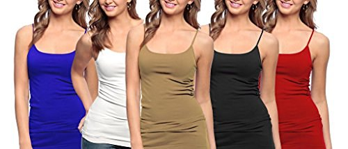 5 Pack Junior Plus Size Seamless Camisole Tank Top with Spaghetti Strap