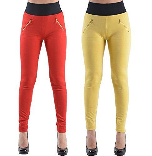 2 Pack High Waisted Elastic 2 Zipper Pocket Legging Pants