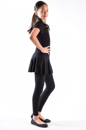 Girls Black Skirted Leggings