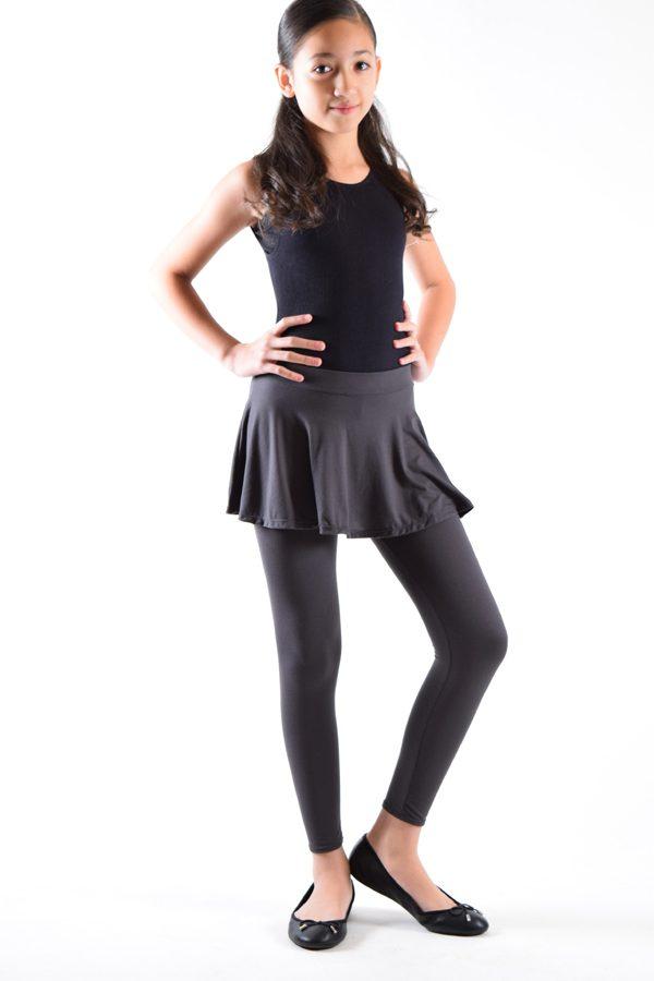Girls Dark Grey Skirt Leggings