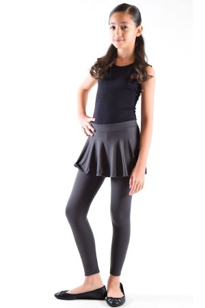 Girls Dark Grey Skirt Leggings