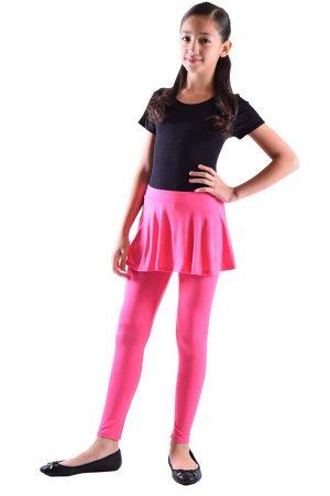 Girls Hot Pink Skirt Leggings