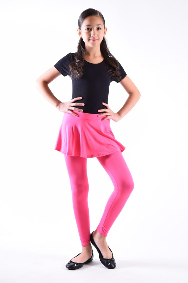 Girls Hot Pink Skirt Leggings