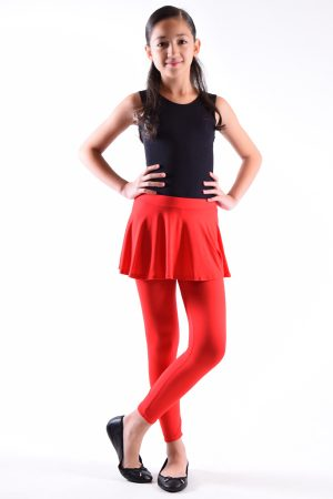Girls Red Skirt Leggings