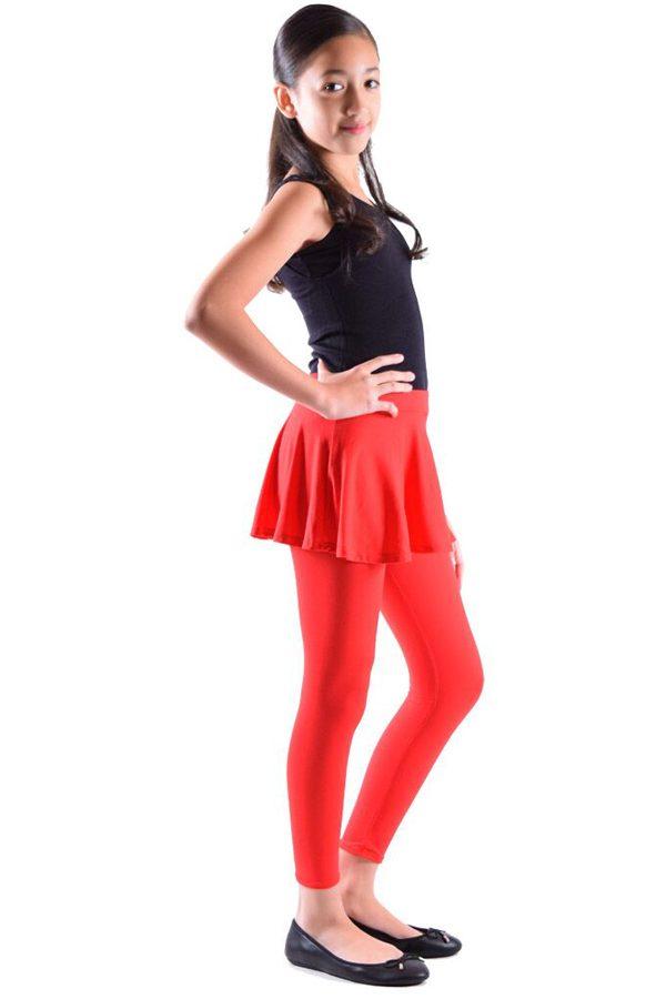 Girls Red Skirt Leggings