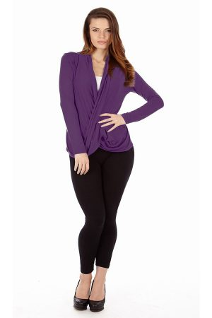Grape Infinity Crisscross cardigan sweater