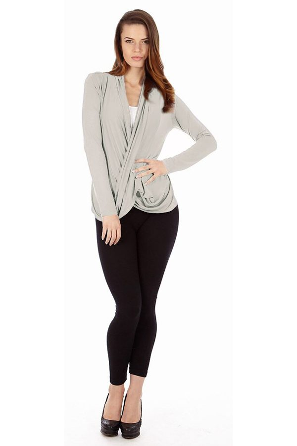 Light Heather Gray Infinity Crisscross Cardigan Sweater
