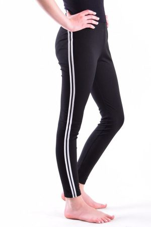 Black and White Side Stripe Leggings