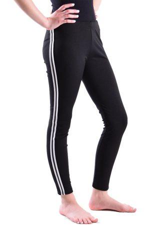Black and White Side Stripe Leggings