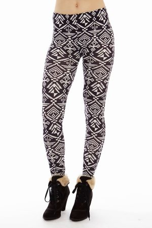 Black and White Tribal Print Leggings