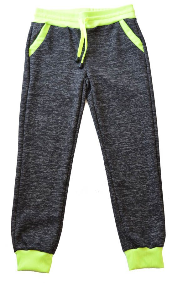 Kids Dark Grey Neon Green Heather Joggers