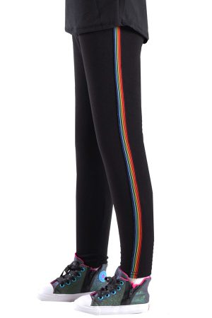 Girls Black Rainbow Side Stripe Leggings
