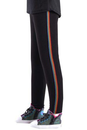 Girls Black Rainbow Side Stripe Leggings