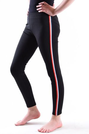 Girls Black Red White and Blue stripe Leggings