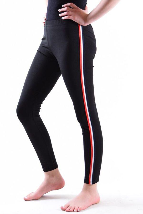 Girls Black Red White and Blue stripe Leggings