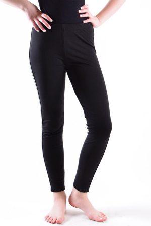 Girls Black and White Side Stripe Leggings