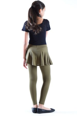 Girls Olive Color Skirt Leggings