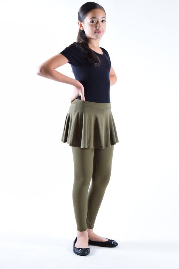 Girls Olive Color Skirt Leggings