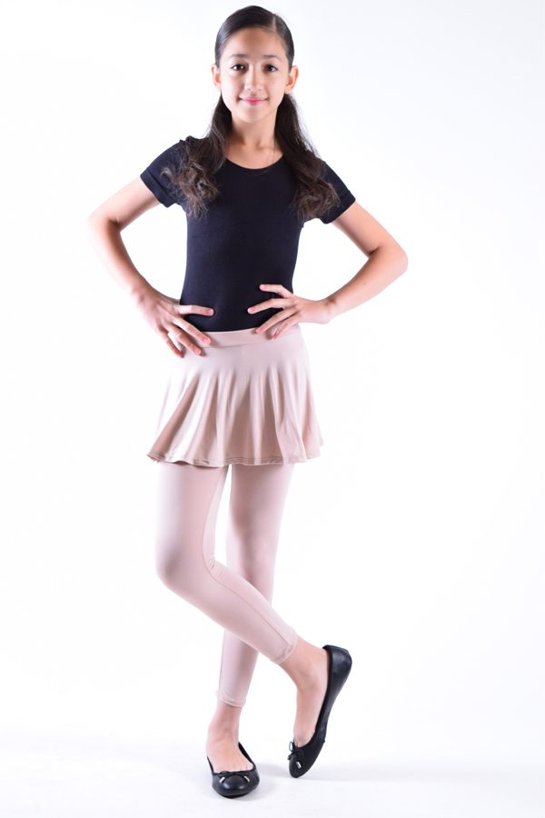 Girls Stone Color Skirt Leggings