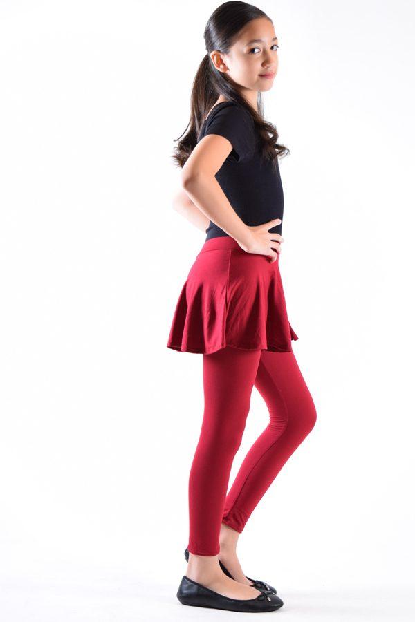 Girls Wine Skirt Leggings