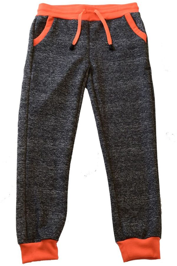 Kids Dark Gray and Neon Orange Joggers