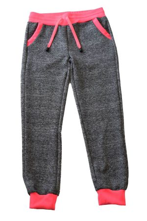 Kids Dark Grey Neon Pink Joggers