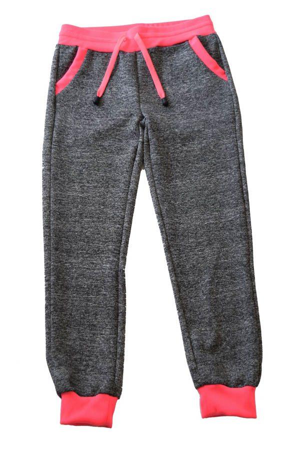 Kids Dark Grey Neon Pink Joggers