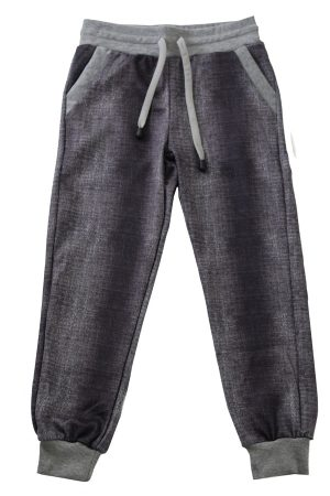 Kids Black Denim and Light Gray Joggers
