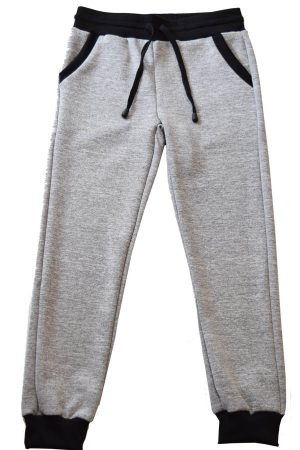 Kids Light Grey and Black Heather Joggers