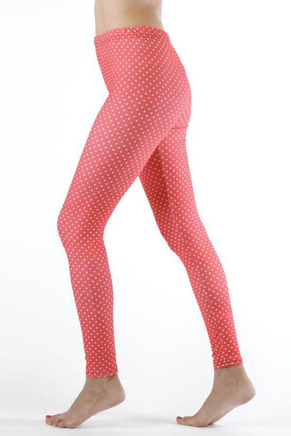 Pink Polka Dot Ankle Leggings