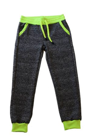 Kids Neon green and black heather joggers