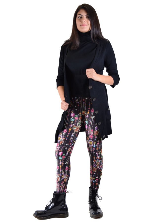 Black Dripping Jewel Print Leggings