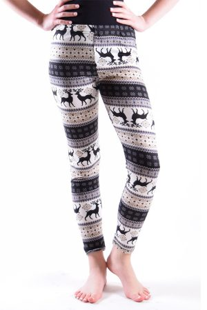 Girls Beige Deer Print Leggings