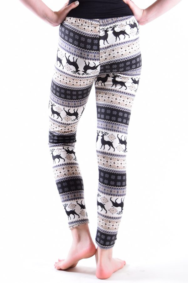 Girls Beige Deer Print Leggings