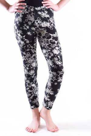 Girls Black & White Star Print Leggings