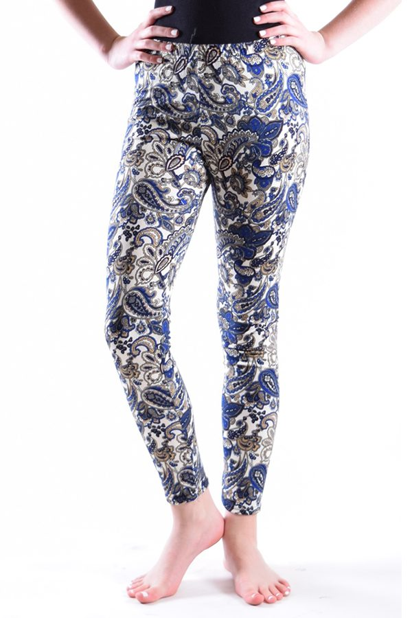 Girls Blue Paisley Print Leggings