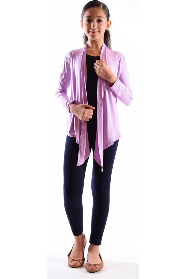 Girls Dusty Purple Flyaway Cardigan
