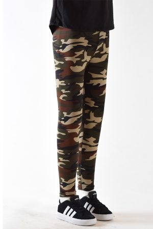 Girls Green Camouflage Leggings