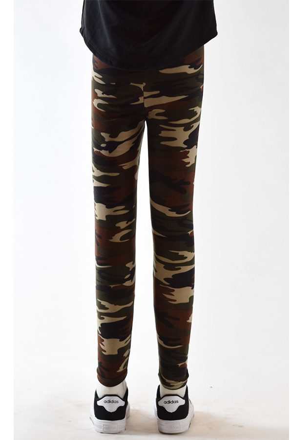 Girls Green Camouflage Leggings