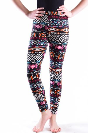 Girls Mulit Color Tribal Print Leggings