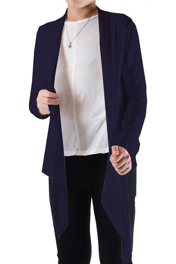 Girls Navy Flyaway Cardigan