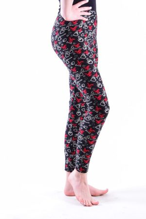 Girls Red Bunny Hear Leggings