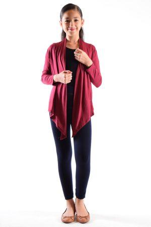 Girls Wine Flyaway Cardigan Sweater
