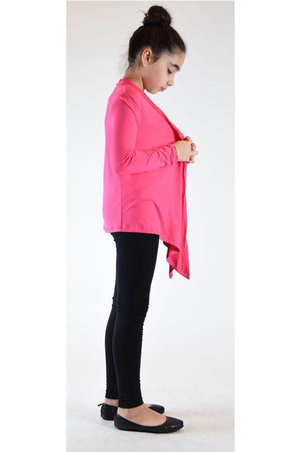 Girls Hot Pink Flyaway Cardigan Sweater Fashionoutletnyc