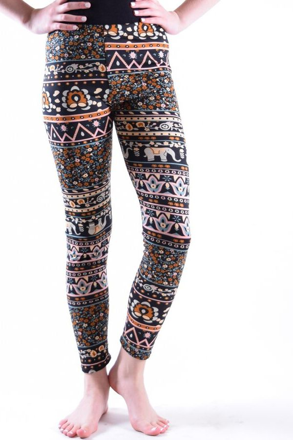 Girls Peach Tribal Print Leggings