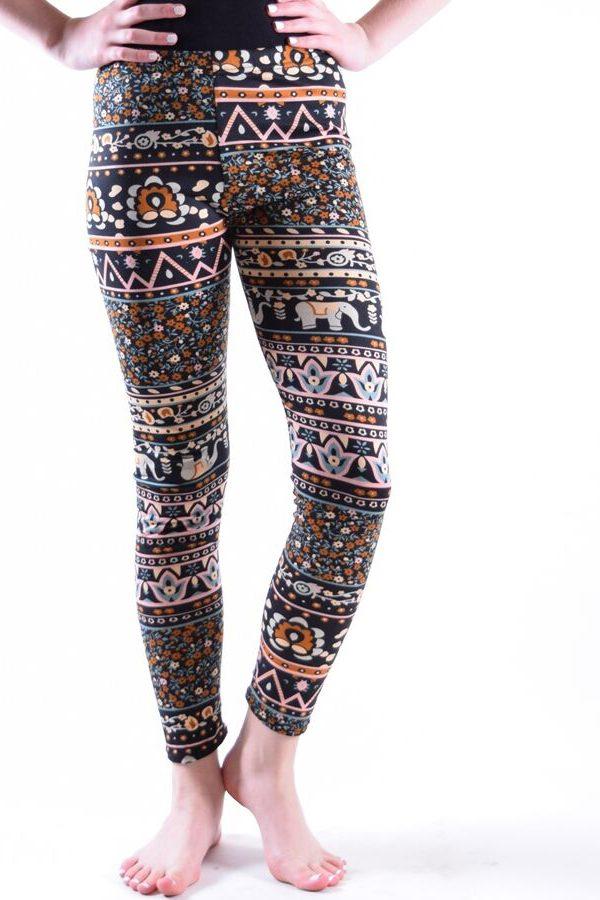Girls Peach Tribal Print Leggings