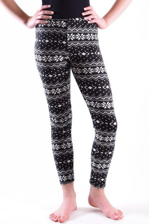 Girls Aztec Design Black Leggings